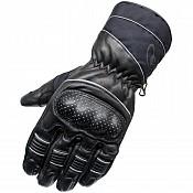 BLACK Vector Waterproof Leather mc handskar