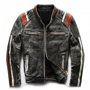ATA Conman Vintage HD leather MC skinnjacka Orange   34500