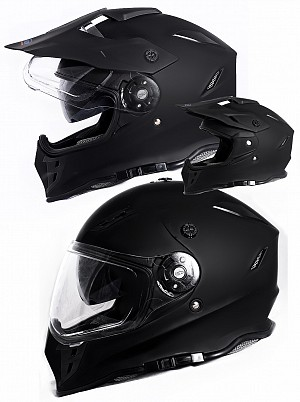 V331 DUAL SPORT CROSS / MOTORCYCLE 3in1 BLACK MATT MC/ Crosshjälm