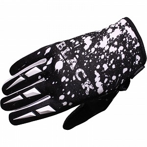 Black Splat Motocross Gloves White 1006 crosshandskar