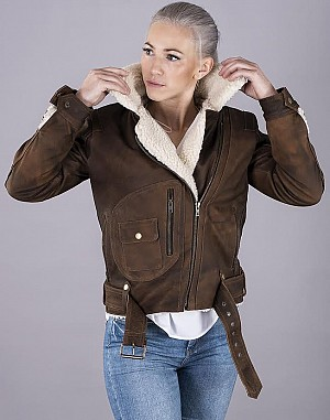 LADY AVIATOR BROWN NUBUCK SHEARLING SKINNJACKA 2001